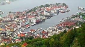 Aerial shot of Bergen, Norway stock video footage