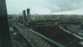 Aerial shot of big city highway in downtown area. Aerial shot of big city highway Royalty Free Stock Image