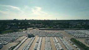 Aerial shot of big new car warehouse Royalty Free Stock Image
