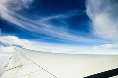 Airplane journey. Aerial shot of blue heaven with white cloud near to South Africa Royalty Free Stock Image