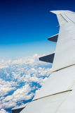 Airplane journey. Aerial shot of blue heaven with white cloud near to South Africa Stock Images