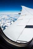 Airplane journey. Aerial shot of blue heaven with white cloud near to South Africa Stock Photography
