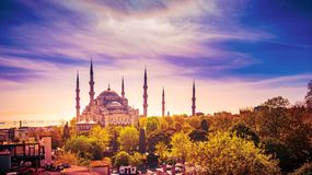 Aerial shot of Blue Mosque surrounded by trees in Istanbul`s Old City - Sultanahmet, Istanbul, Turkey. Aerial shot of Blue Mosque, Sultan Ahmed Mosque surrounded royalty free stock photos