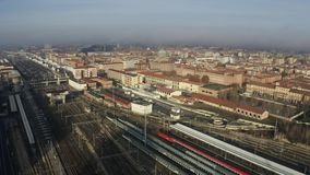 Bologna Centrale railroad station and tracks and city, Italy. Aerial shot royalty free stock photos