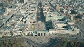 Aerial shot of the Brandenburg Gate in Berlin, Germany. Aerial view of the Brandenburg Gate in Berlin stock photography