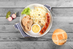 Aerial Shot of Breakfast Recipe on Wooden table royalty free stock photography