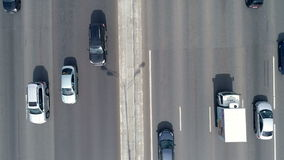 Aerial shot of a busy eight lane road, highway. Car traffic. 4K. stock video footage