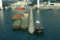 Aerial shot of a busy port. Showing transport ships and barges Royalty Free Stock Photo