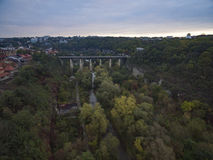 Aerial shot of the canyon of the Smotrych River towards the Novoplanivskyi Bridge Royalty Free Stock Photography