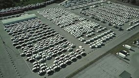 Aerial shot of a car manufacturer parking Royalty Free Stock Photos
