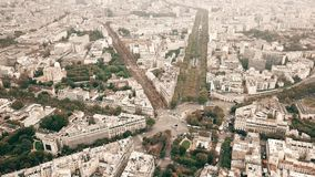 Aerial shot of Catacombs of Paris, metro railway tracks and the cityscape, France Royalty Free Stock Photography