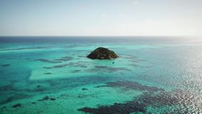 Aerial shot of a cay located at the Caribbean stock video