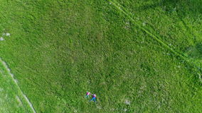Aerial shot of children at green grass. View of family walking the village Yablunytsia in Carpatian mountains, drone camera stock footage