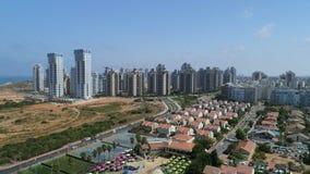 Aerial shot of city residential neighborhood. stock video