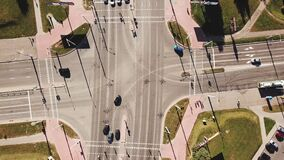 Aerial shot of city road traffic over big crossroad. stock video footage