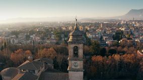 Aerial shot of the city of Terni Cathedral and cityscape. Umbria, Italy stock footage