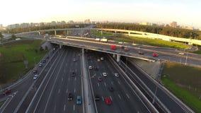 Aerial shot of city traffic interchange stock video footage