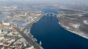 Aerial shot of the city with unmanned Kiev Ukraine Royalty Free Stock Photo