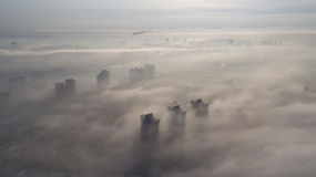Aerial shot of the city with unmanned Kiev Ukraine Royalty Free Stock Photography