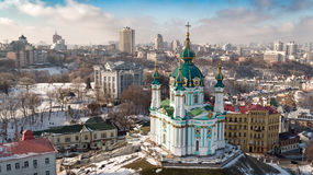 Aerial shot of the city with unmanned Kiev Ukraine Stock Photo