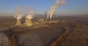Coal-fired power plant stock video footage