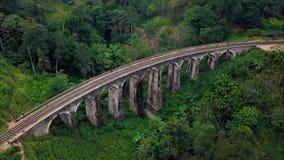 Aerial shot of colonial railway bridge. Viaduct named Nine Arches Bridge. Ella, Sri Lanka stock video
