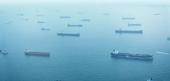 Aerial Shot of Commercial Ships at Anchor off Singapore Stock Photography
