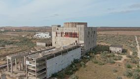 AERIAL SHOT CRIMEA near SHELKINO city AUGUST 2019 Old abandoned atomic power station from soviet union times
