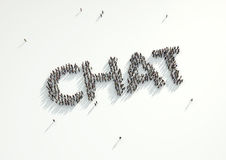 Aerial shot of a crowd of people forming the word 'Chat'. Concep. T for how people follow each other on social networks and social media channels, websites, chat royalty free illustration