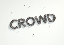 Aerial shot of a crowd of people forming the word Crowd. Concept. For crowd funding platforms or projects that are supported financially by crowd funded vector illustration