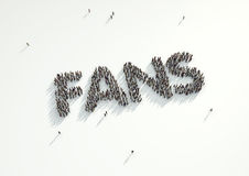 Aerial shot of a crowd of people forming the word 'Fans'. Concep Stock Images