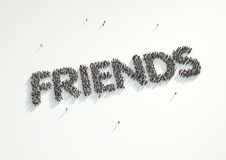 Aerial shot of a crowd of people forming the word 'Friends'. Con Royalty Free Stock Image
