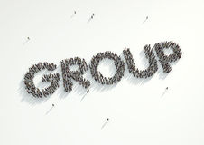 Aerial shot of a crowd of people forming the word 'Group'. Conce. Pt for how people follow each other on social networks and social media channels, websites stock illustration