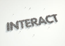 Aerial shot of a crowd of people forming the word 'Interact'. Co. Ncept for how people follow each other on social networks and social media channels, websites stock illustration