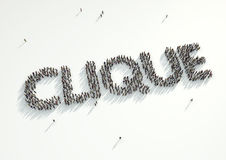 Aerial shot of a crowd of people gather to form the word 'Clique. '. Concept for how like minded people with the same interests and beliefs stick together. Birds vector illustration