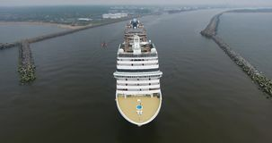 Aerial shot of cruise ship in Klaipeda City port, Lithuania stock footage