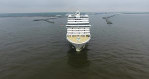 Aerial shot of cruise ship in Klaipeda City port, Lithuania stock video