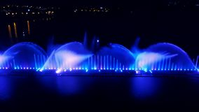 Water music fountain in night stock video footage