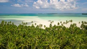 Aerial shot of deserted tropical beach Royalty Free Stock Photos