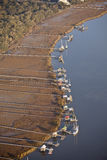 Aerial shot of docks and boats Stock Image