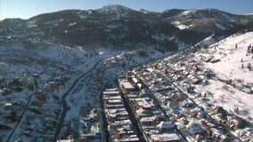 Aerial shot of downtown park city utah stock video footage