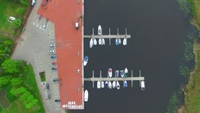 Aerial shot of Dreverna pier, Lithuania stock video footage