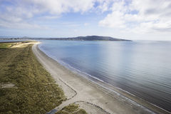 Aerial Shot of Dublin Bay. Taken from Bull Island beach looking out over howth head peninsula Royalty Free Stock Images