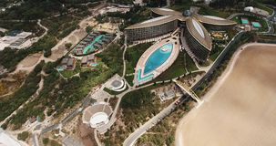 Aerial shot of elite Mriya resort. Swimming pool, tennis courts, helicopter pad stock video