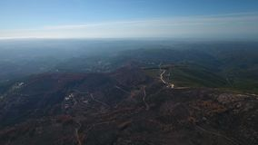 Aerial shot of energy producing wind turbines. Portugal Monchique. stock video footage