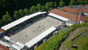 Aerial shot of equestrian sport and castle Royalty Free Stock Images