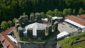 Aerial shot of equestrian sport and castle stock video footage