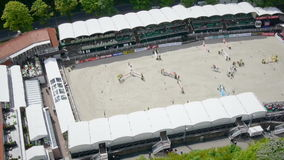 Aerial shot of equestrian sport and castle Stock Photo