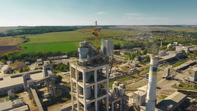 Aerial shot factory cement. In 4K stock video