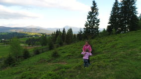 Aerial shot, family walking along, spring day in forest stock footage
